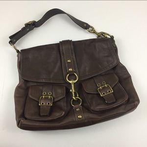 COACH Brown & Gold Leather Messenger Shoulder Bag